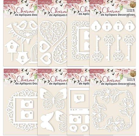 Combo de Acrílicos Brancos Encanto de Flores - 8 unidades