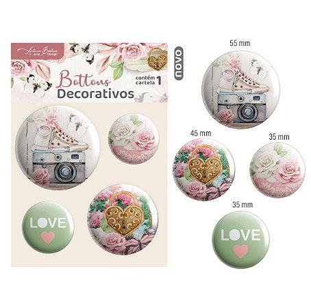 Botons Decorativos Encanto de Flores - 4 unid.