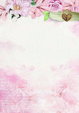 Bloco para Recordações - Encanto de Flores II - 40 folhas