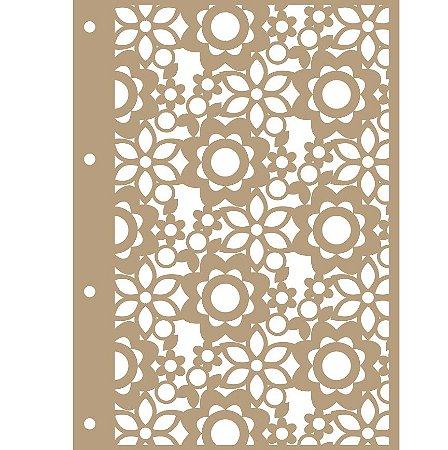 Capa Floral MDF + 4 Argolas Douradas + Placa Holler - 150 x 210mm