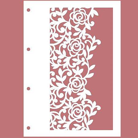 Capa Acrílica Branca Renda II + 4 Argolas Douradas + Contracapa Holler - Encanto de Flores