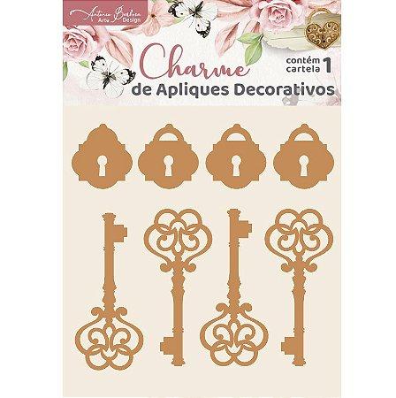Apliques MDF Chaves e Cadeados - Encanto de Flores