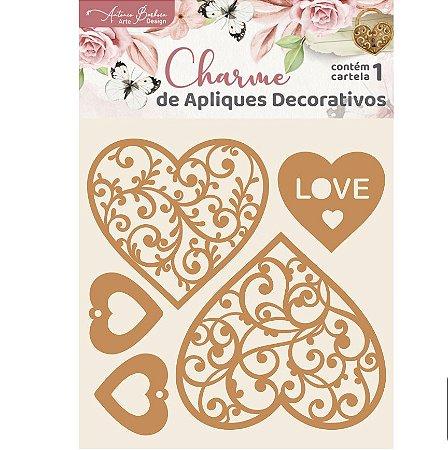 Apliques MDF Coração Renda - Encanto de Flores