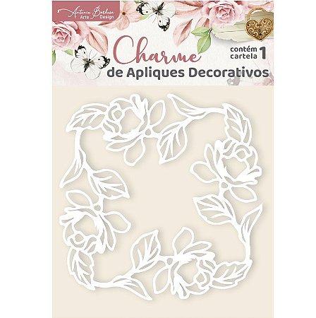 Apliques Acrílico Floral Moldura - Encanto de Flores