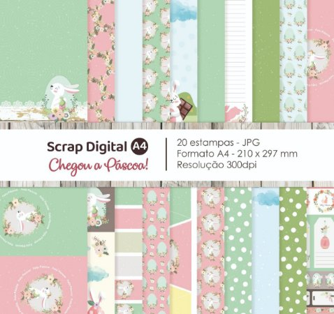 Scrap Digital A4 - CHEGOU A PÁSCOA - 20 ESTAMPAS - Observação PRODUTO DIGITAL
