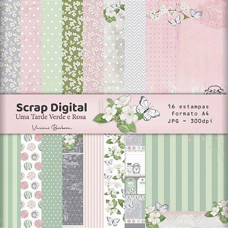 PROMO - Scrap Digital Uma tarde Verde e Rosa |  by Vinicius Barbosa | A4 - 16 folhas| JPEG - 300dpi