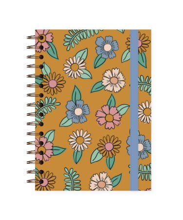 Floral Amarelo | Caderno Colegial • 180 folhas