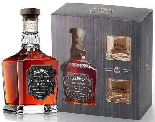 Kit Whisky Jack Daniels Single Barrel 750ml + 2 Copos