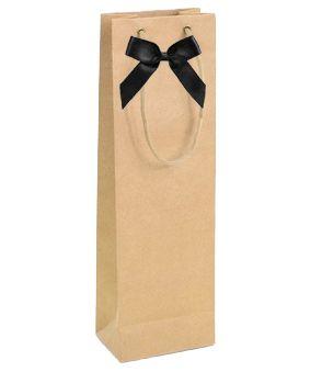 Sacola Kraft para 1 garrafa + cartão personalizado