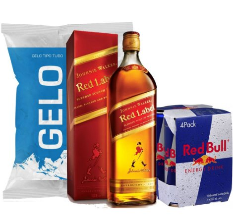 Whisky J. W. Red Label + 4 Red Bull + Gelo