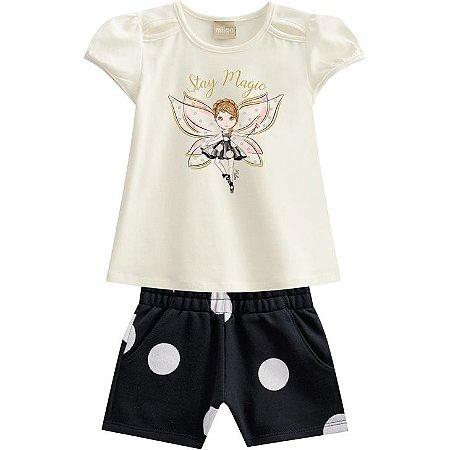 Conjunto Infantil Feminino Blusa + Short  - Tam 6 - Milon