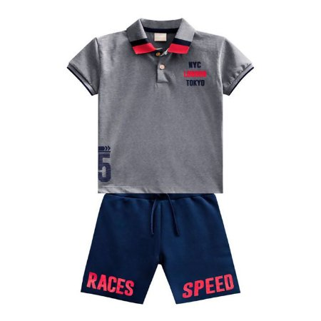 Conjunto Menino London Camiseta Polo + Bermuda - Tam 6 - Milon