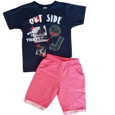 Conjunto Masc On Side Camiseta em Meia Malha Penteada + Bermuda em Moleton Riviera - Tam 6 - Elian