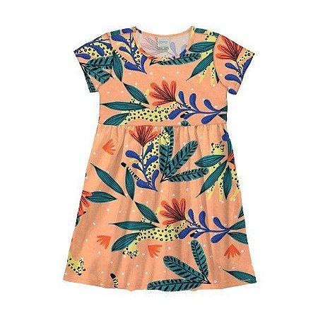 Vestido Infantil Menina Tropical Laranja  - Tam 6 - Alakazoo