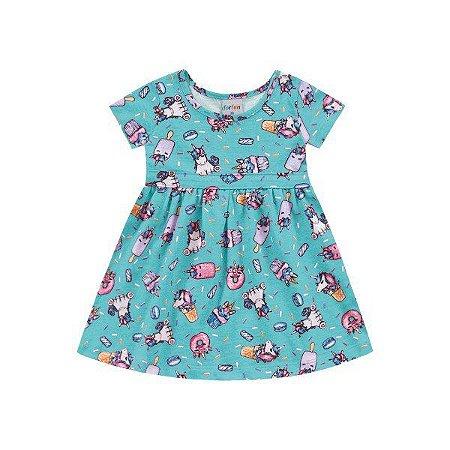 Vestido Bebê Unicórnios Azul - Tam P - Fakini For Fun