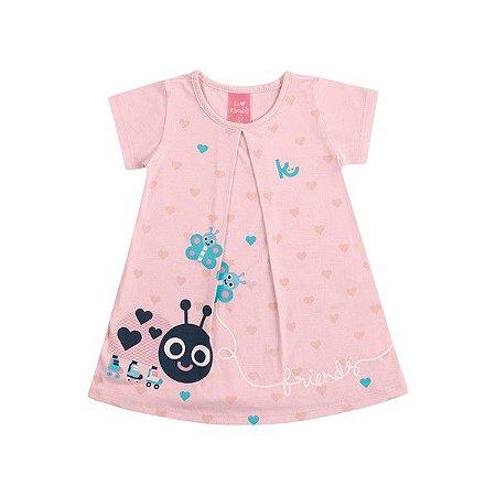 Vestido Bebê Friends Rosa - Tam G - Kamylus