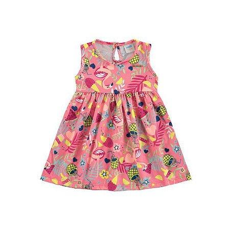 Vestido Bebê Flamingos Melancia - Tam G - Marlan