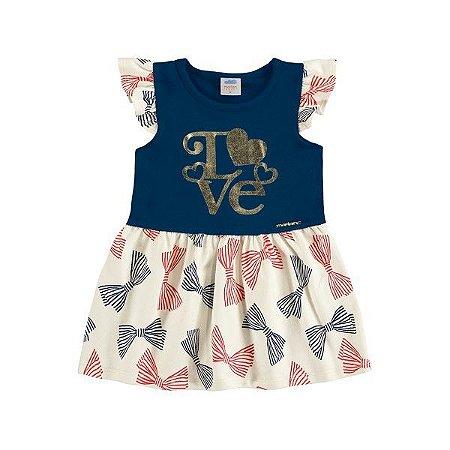 Vestido Bebê Love Marinho - Tam G - Marlan