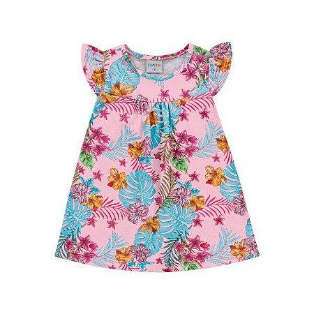 Vestido Bebê Flores Rosa - Tam P - Fakini For Fun