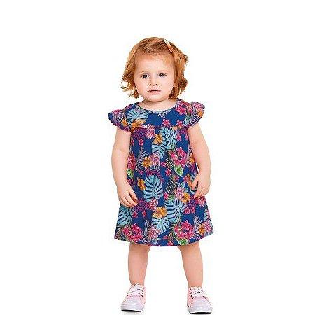 Vestido Bebê Flores Azul - Tam M - Fakini For Fun