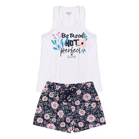 Conjunto Fem Perfect Branco Blusa + Short - Tam 6 - Kiiwi Kids