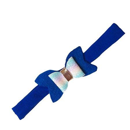 Faixa de Cabelo Azul Laço Colorido