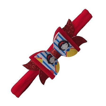 Faixa de Cabelo Vermelha Laço Branca de Neve