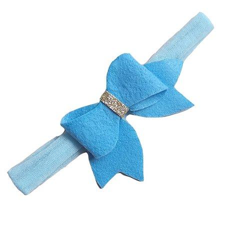 Faixa de Cabelo Azul Laço em Feltro