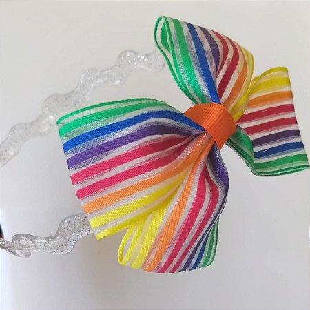 Tiara Transparente Laço Arco-íris