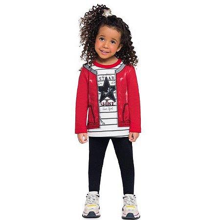 Conjunto Moletom Infantil Menina Star Vermelho - Tam 3 - Brandili