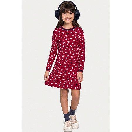Vestido Menina Flores Vermelho - Tam 6 - Alakazoo