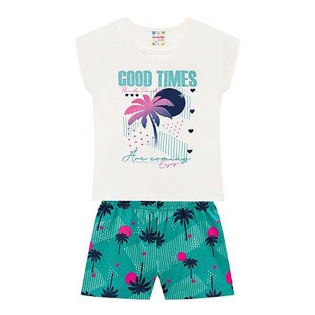 Conjunto Menina Good Times Natural  - Tam 8 - Brandili