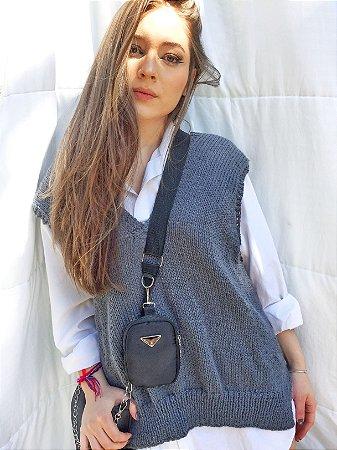 Maxi Vest Tricot Cinza de lã