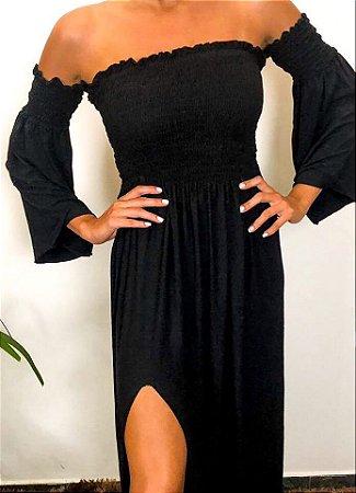 Vestido Ciganinha manga flare com Lastex e Fenda