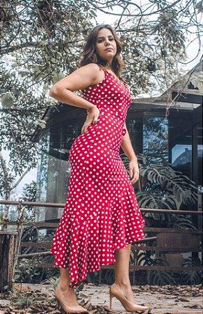 Vestido Veneza Poá Vermelho Assimétrico