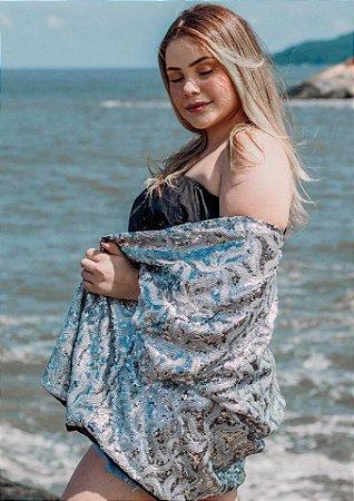 Kimono Paetê Prata