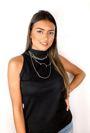 Blusa Amélia Canelada com gola média