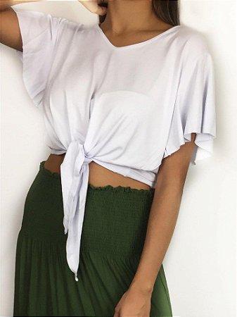 Camiseta Cropped Lara com nózinho e mangas soltas