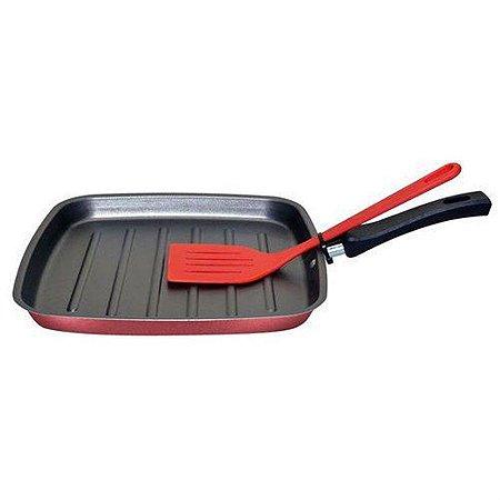 Bistequeira Grill Antiaderente Cereja Mta Com Espatula Vermelha 8803