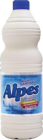 Água Sanitária Alpes com Cloro Ativo 1L, Limpa, Alveja, Desinfeta