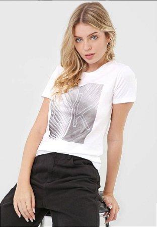 Camiseta Com Estampa Localizada Folha Branco