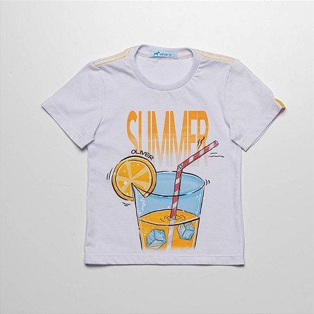 T-shirt Malha Com Silk Local Estourado Summer Suco Branco