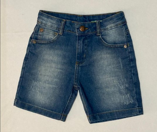 Bermuda Five Pockets Indigo Com Elastano Leve e Confortavel, Lavanderia Stone e Used Local Jeans