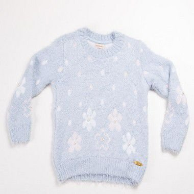 Blusa Infantil Feminino Azul Poa Flores Aplique Perora Bebelândia