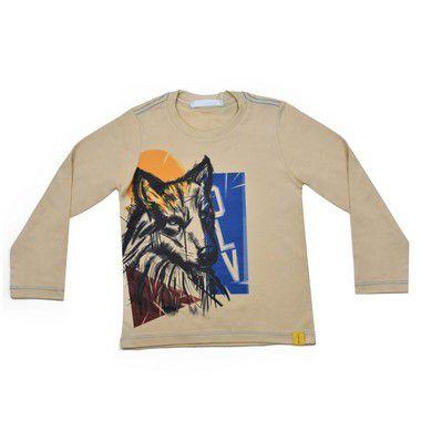 Camiseta Infantil Masculina Malha Algodão Estampa Lobo Lateral