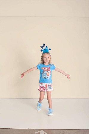 Conjunto Infantil Feminino Blusa Com Laço Nas Costas e Short/saia de Moletom Estampado