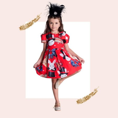 Vestido Infantil Feminino de Pregas Estampa Coelho no Chapeu