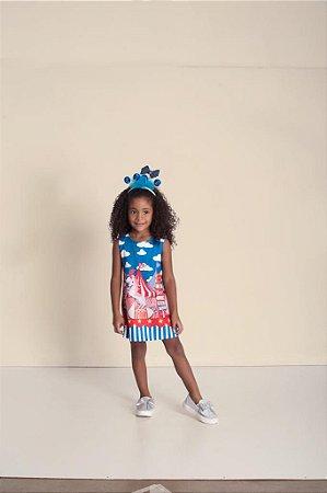 Vestido Infantil Feminino Linha Estampa Circo e Animais