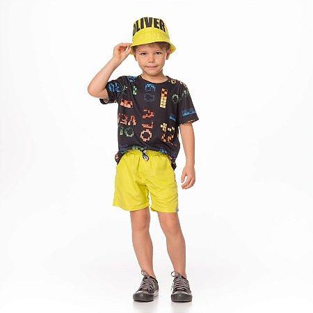 Conjunto de T-shirt Malha Estampa Comi Comi e Bermuda Tricoline Amarela Amarelo