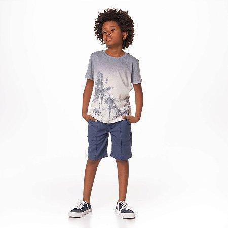 T- Shirt Malha Com Silk Total Coqueiros e Ombre Azul